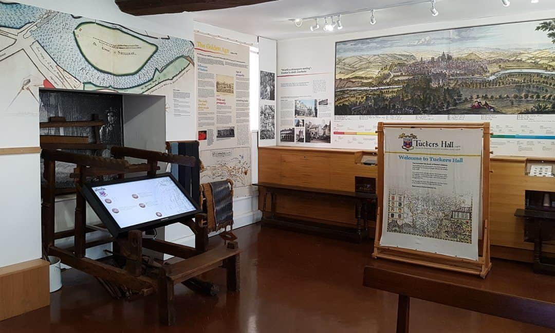 The museum on the lower floor of Tuckers Hall in Exeter