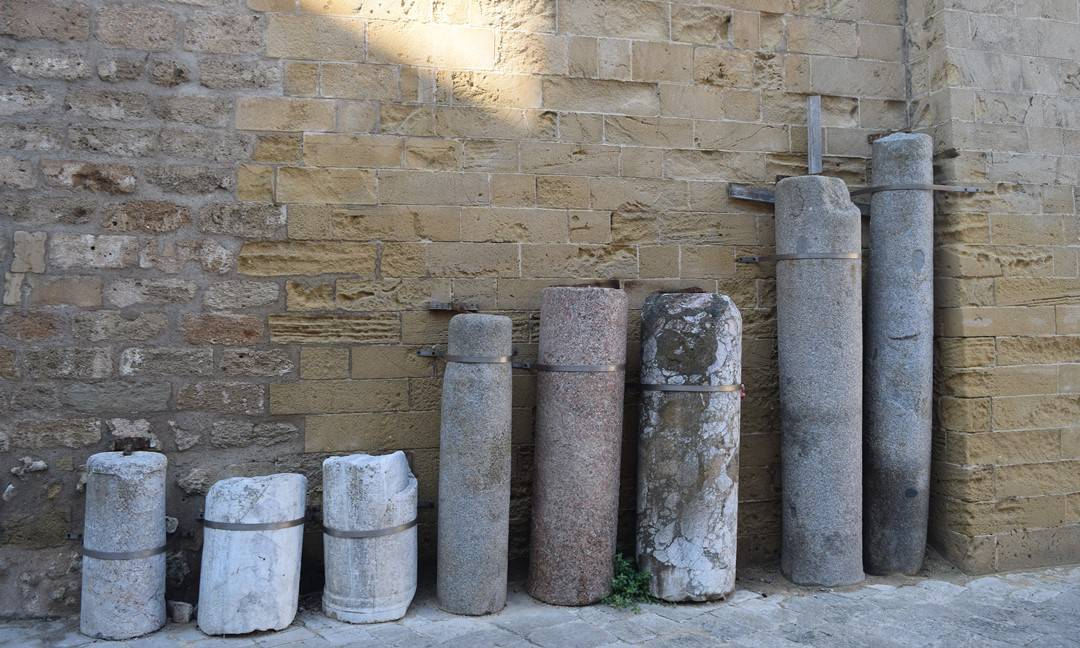 Marble and granite columns in Otranto.