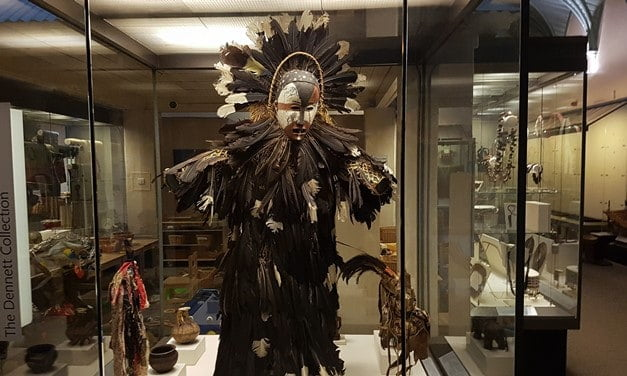 A feathered spirit costume from the Congo, now in the RAMM, Exeter.
