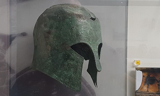 Ancient Corinthian helmet from Avida in Greece, now in the RAMM, Exeter.