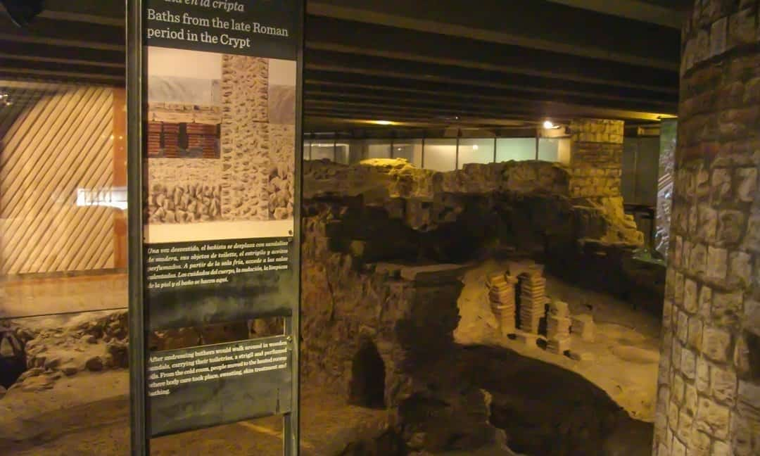 Remains of Roman baths in the archaeological crypt under the Notre Dame Cathedral, Paris.