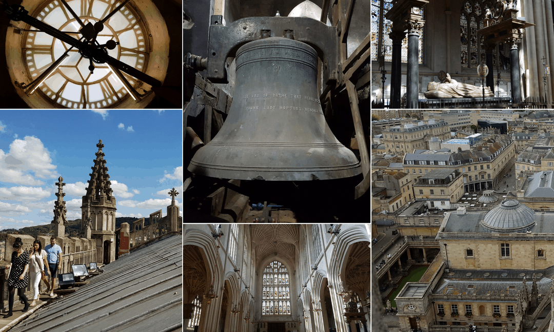 Various features of Bath Abbey church.
