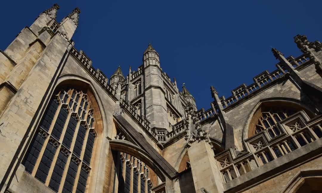 The tower of Bath Abbey, 49 metres high.