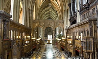 A view inside the interior of Bristol's Medieval Cathedral