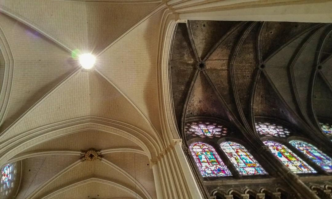 The ceiling inside Chartres Cathedral, showing signs of cleaning and restoration.