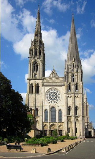 The west façade of Chartres Cathedral, France.
