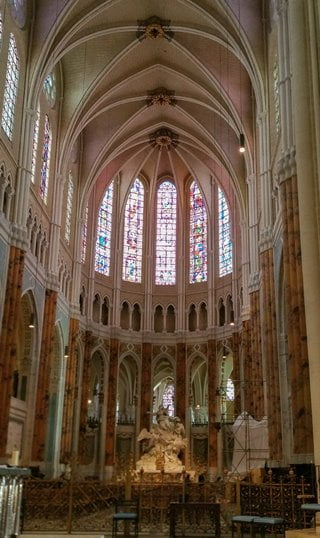 The sanctuary inside Chartres Cathedral, France.