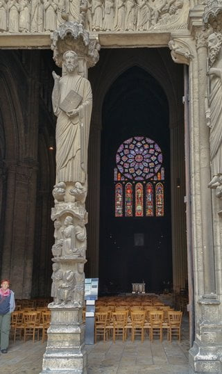 The entrance on the south side of Chartres Cathedral, looking across the nave.