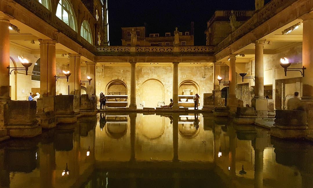 The Great Bath at night, when lit up for visitors after dark during July and August.