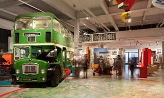 Inside M shed at Bristol's Harbourside, and a vintage bus from the city's past