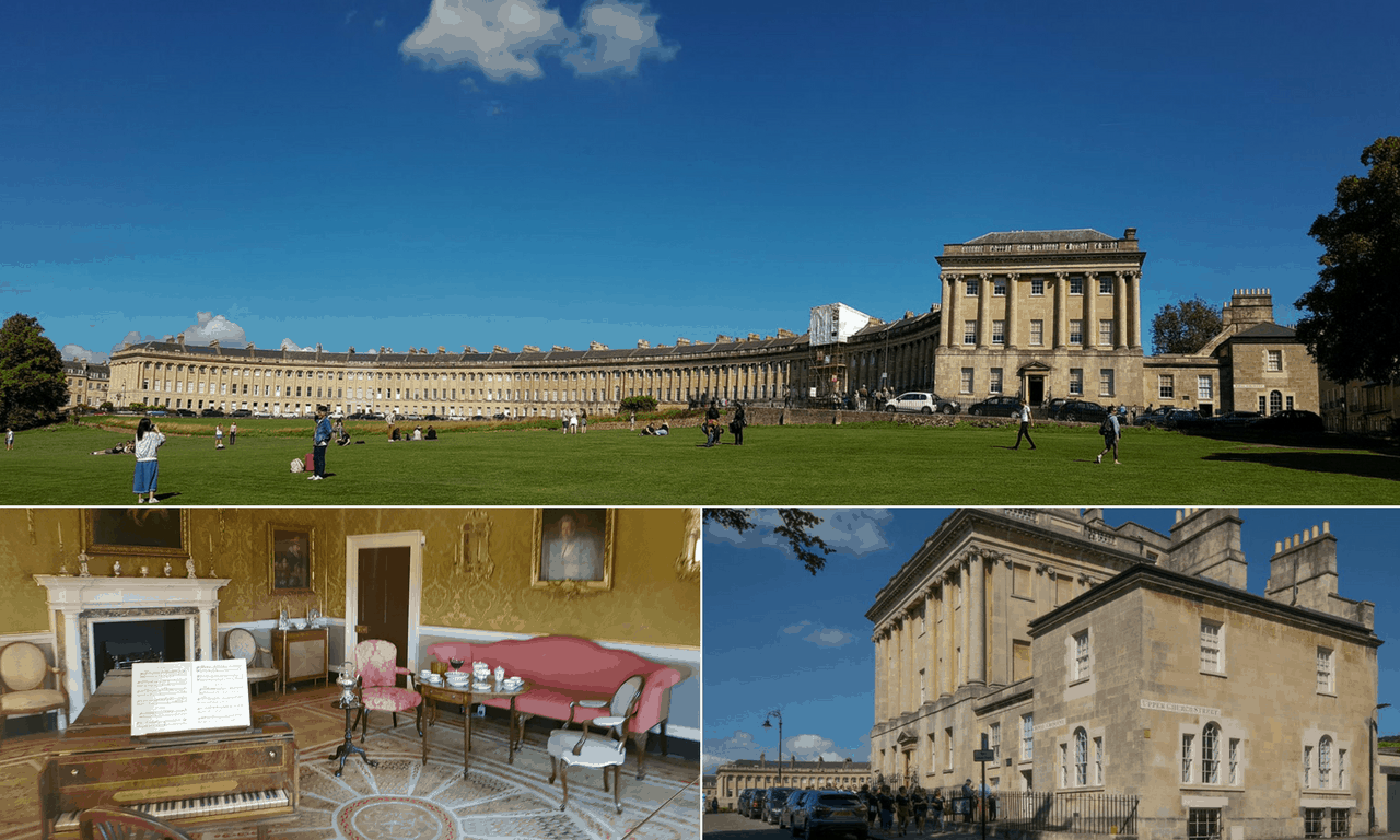 Palladian architecture at the Royal Crescent in Bath.