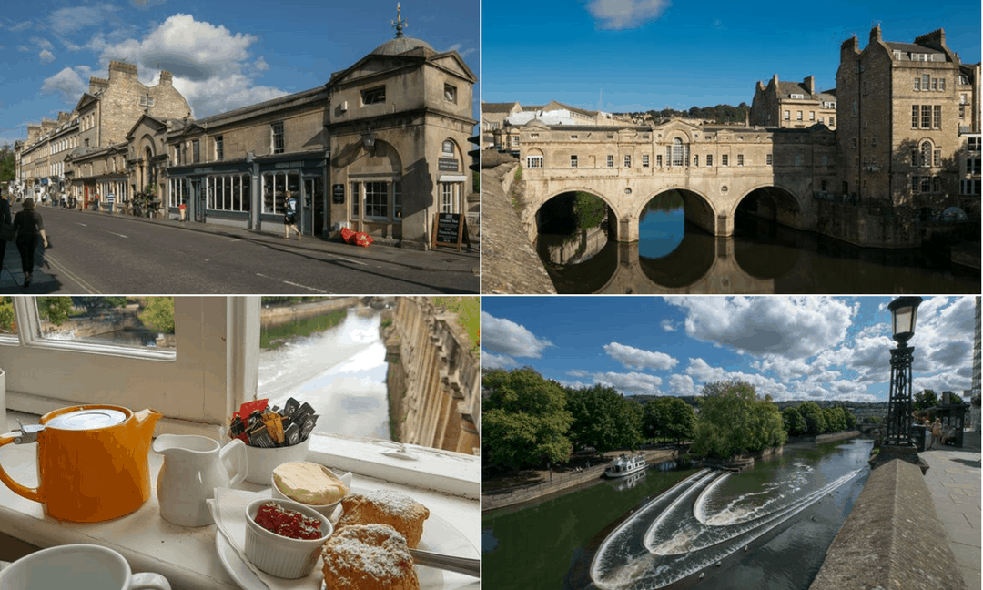 Views of Pulteney Bridge that spans the Avon River in Bath.