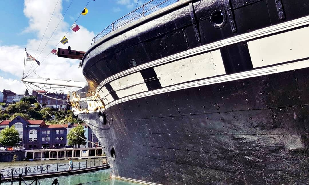 A view of the hull of the SS Great Britain at the dry docks in Bristol