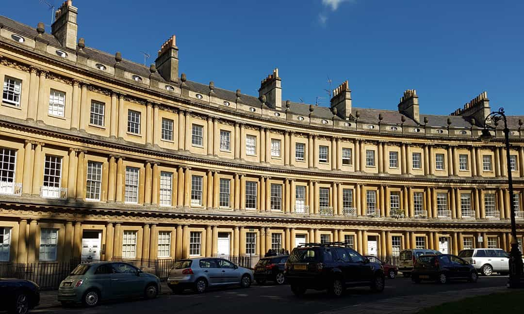 A section of the terraced houses on the Circus in Bath.