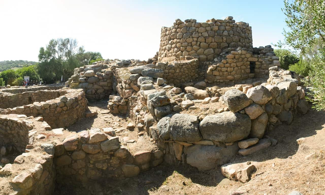 A view of the Nuragic complex of Nuraghe la Prisgiona in Arzachena, Sardinia.