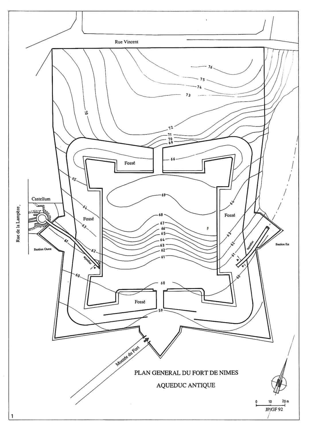 Plan of the citadel and Roman aqueduct and castellum in Nîmes.