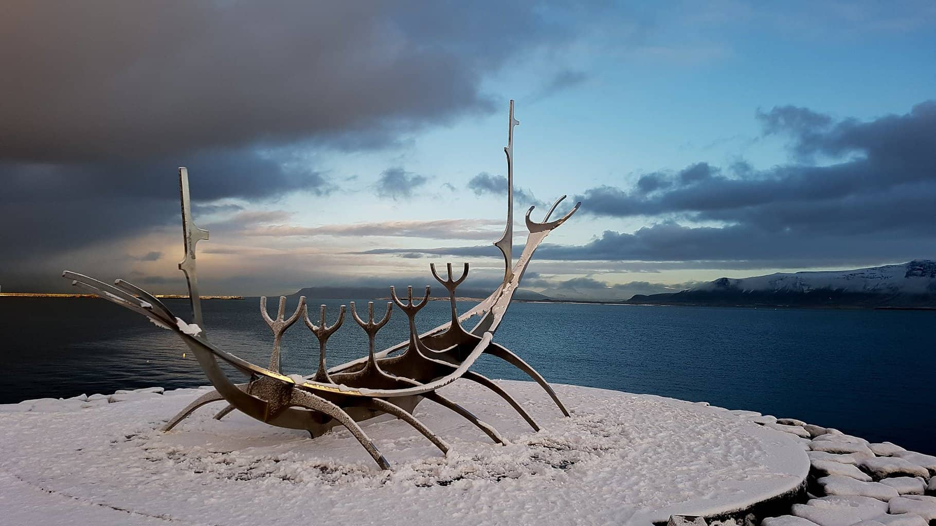 A sculpture representing a Viking ship in Reykjavik, Iceland.