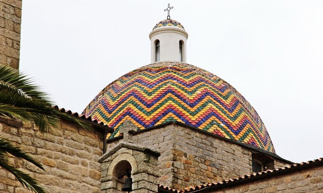 The multi-coloured dome of Chiesa San Paolo in Olbia.