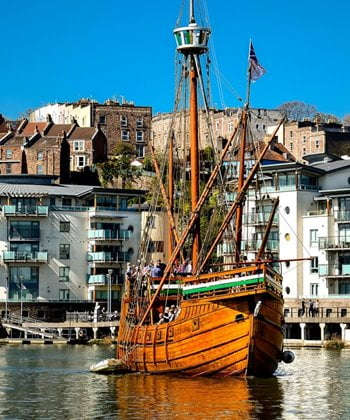 A historic ship in the Bristol harbour.