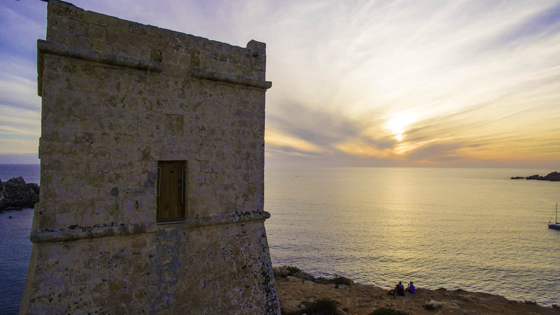 Sunset from Għajn Tuffieħa Tower, Malta.