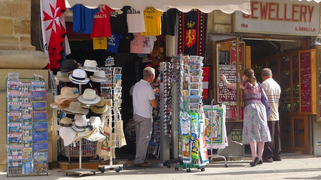 Souvenir shop in Malta.