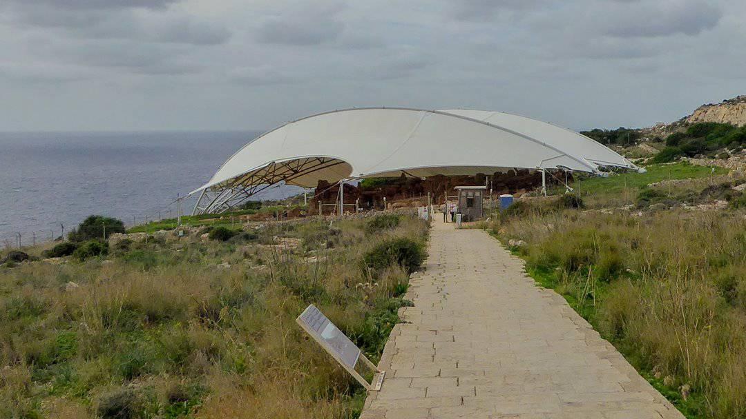 Mnajdra temple overlooking the Mediterranean Sea.