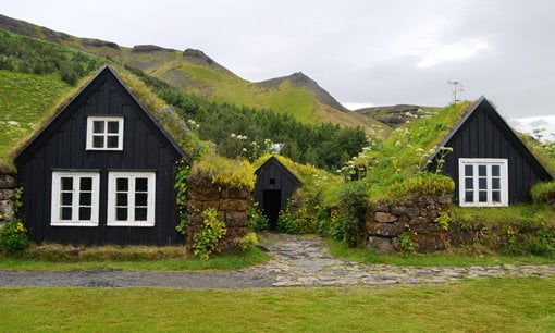 Typical turf houses in Iceland.
