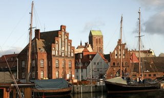 Ships in the Medieval harbour of Wismar.
