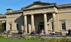 The imposing neoclassical entrance to Yorkshire Museum in York.
