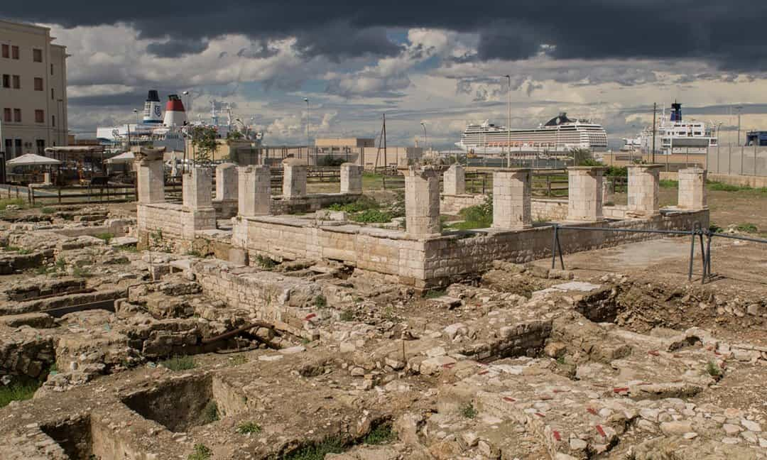 The port behind the archaeological site of Santa Scolastica in Bari.