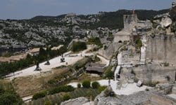 Ruins of the hilltop, Medieval village of Baux in Provence.