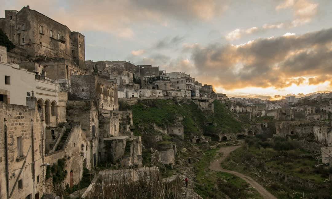 The Norman Castle looking onto the Rione di Casale in Ginosa, Puglia.