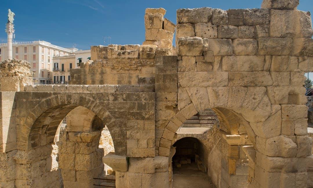 Remnants of the Roman amphitheatre in the centre of Lecce, Puglia.