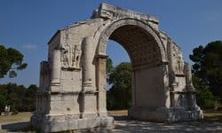 The Roman triumphal arch at Les Antiques, Provence.