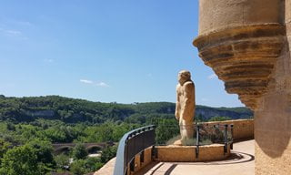 Neanderthal statue overlooking Les Eyzies, Dordogne.