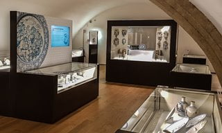 The restored vaulted rooms housing an extensive collection of Maiolica pottery - Museo della Maiolica.