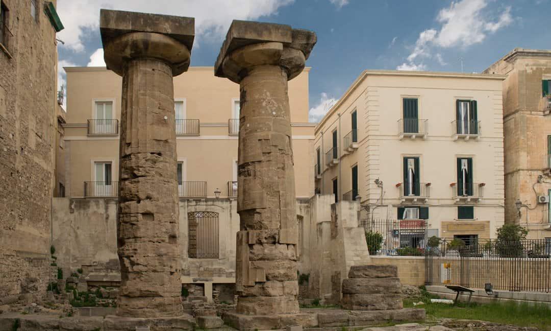 Columns from the 6th century Doric temple in Taranto, Puglia.