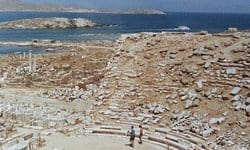Overlooking the ancient theatre on the island of Delos.