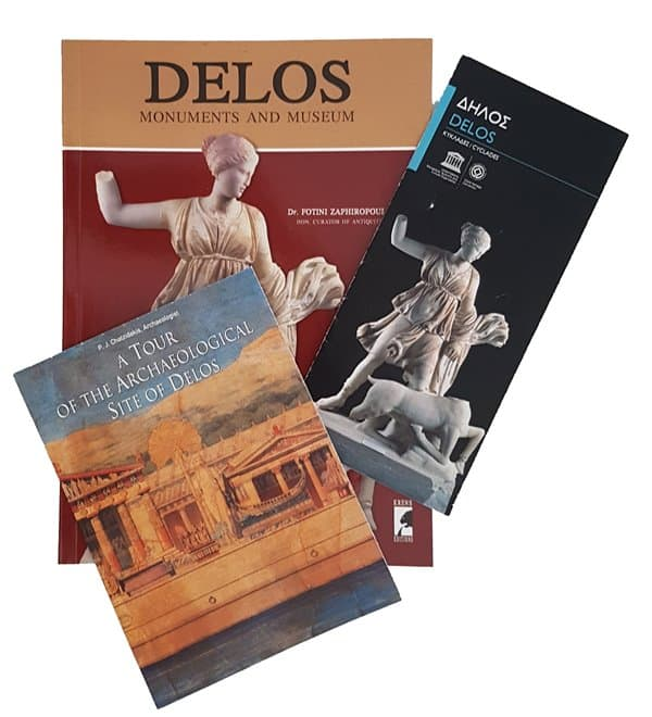 Guidebooks and pamphlets for visiting Delos.