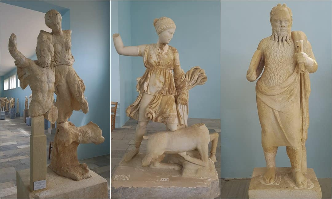 Ancient statues in the Delos museum.