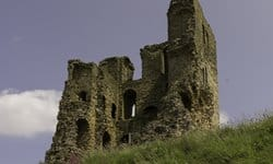 Scarborough Castle ruins overlooking the sea.