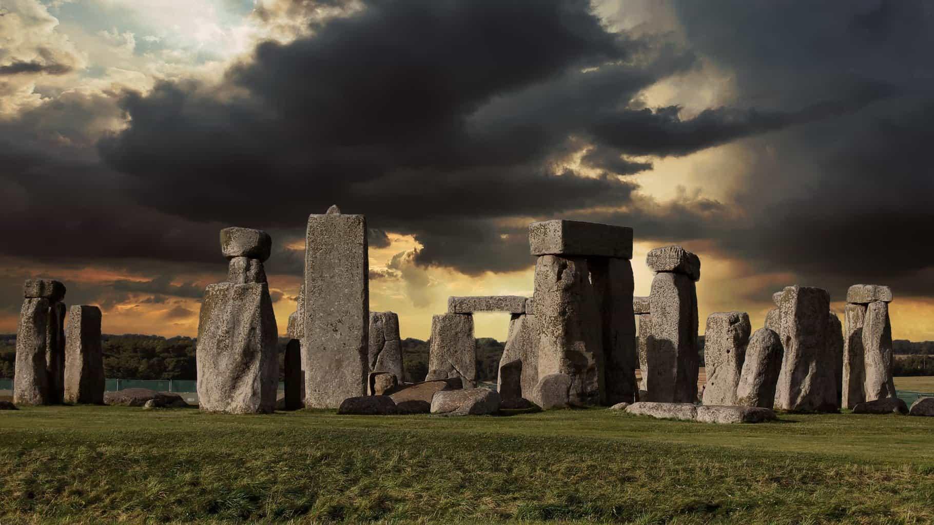Stonehenge under a dramatic sky.