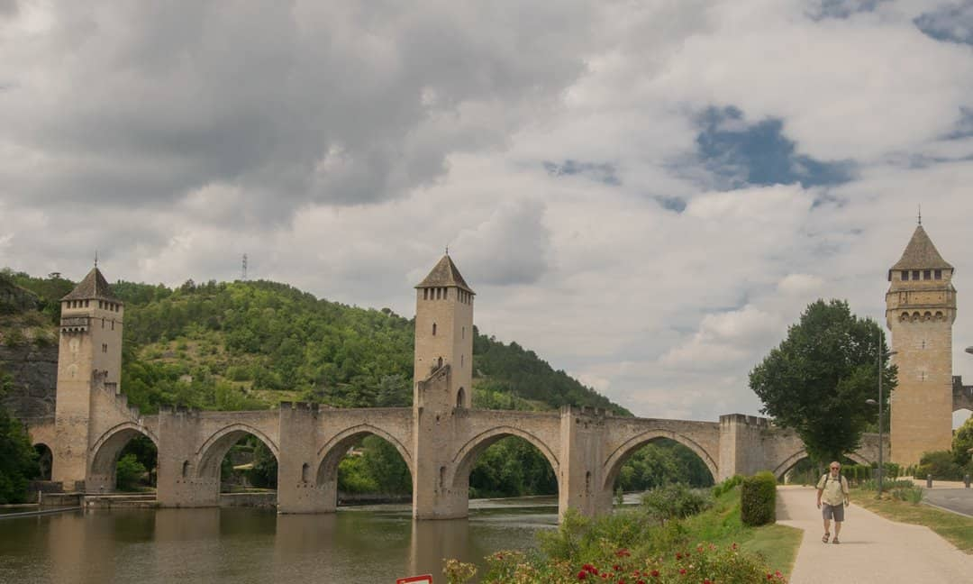 The Valentré Bridge in Cahors spans the Lot River, France.