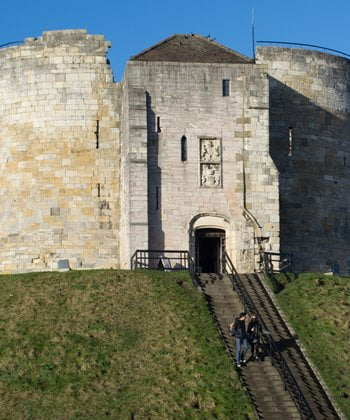 The entrance to Clifford's Tower in York.