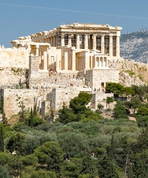 The entrance to the Acropolis as seen from Pnyx Hill.