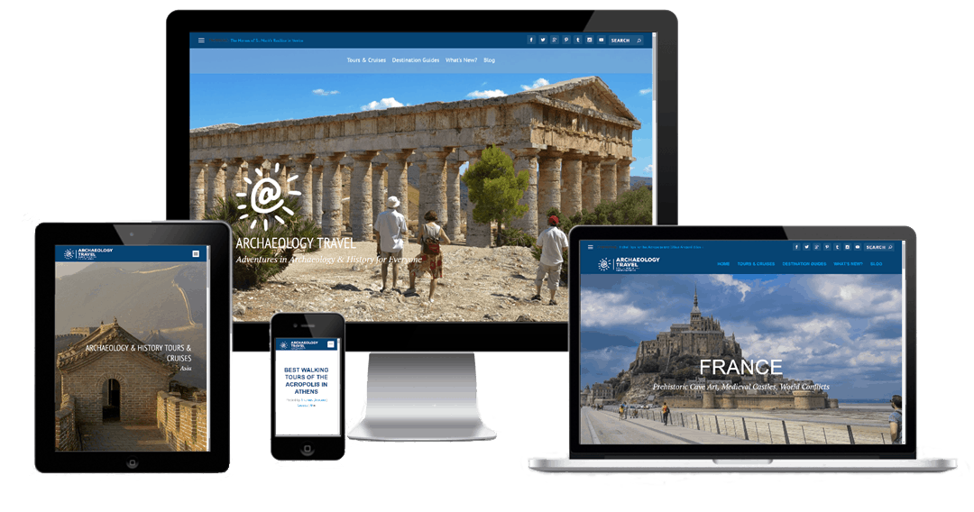 The Archaeology Travel website on different devices.