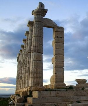 The striking columns of the temple dedicated to Poseidon at Cape Sounion.