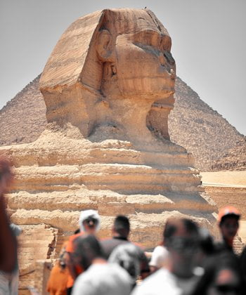 The head of the Sphinx on the outskirts of Cairo.