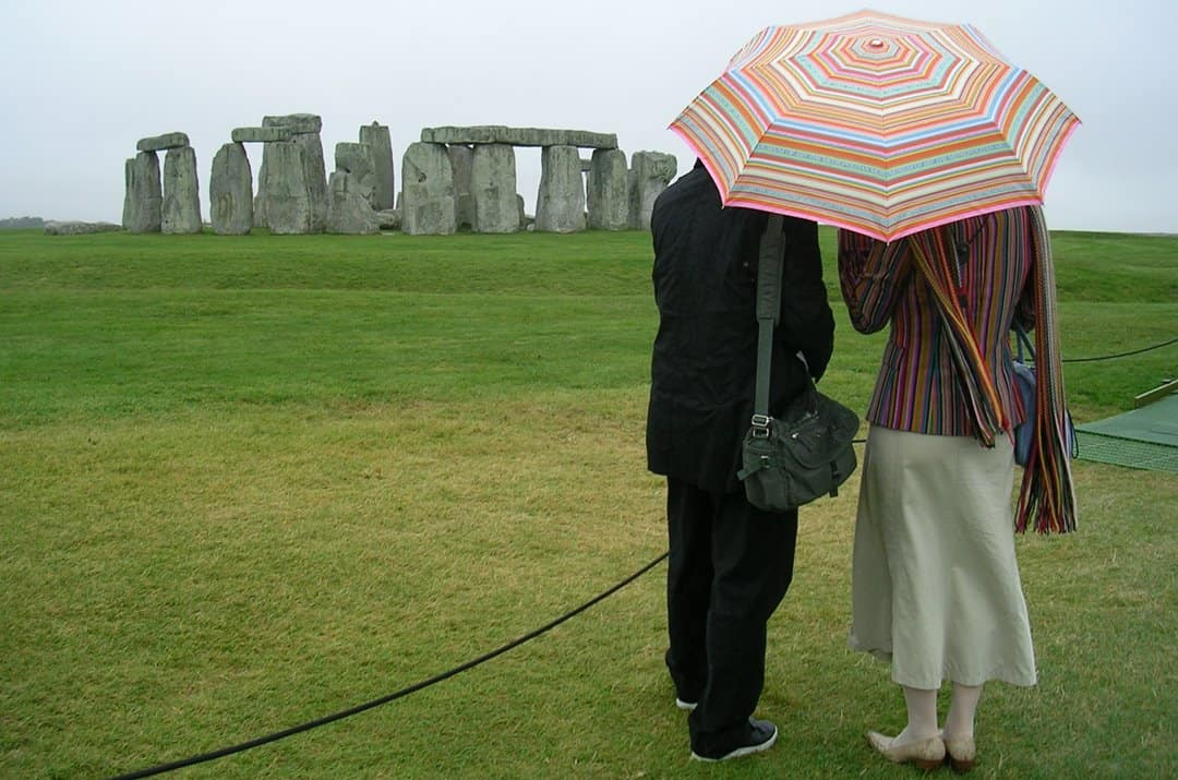 Visiting Stonehenge in the rain.