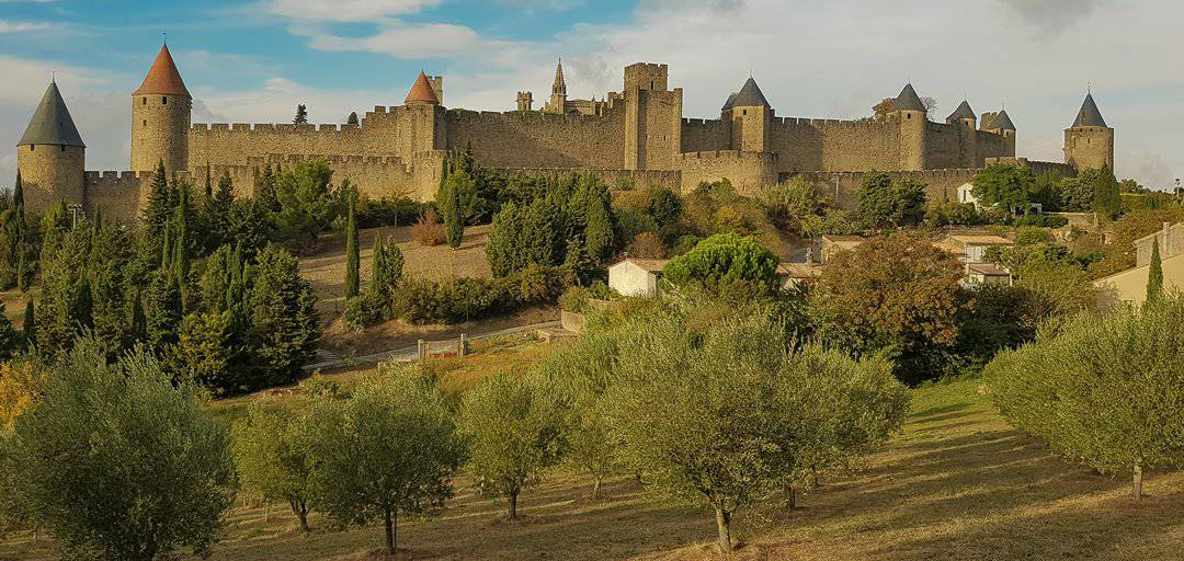Roman and Medieval city walls of Carcassonne, France.
